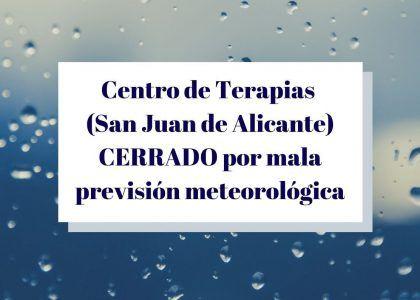 Centro de Terapias CERRADO hoy por mal tiempo